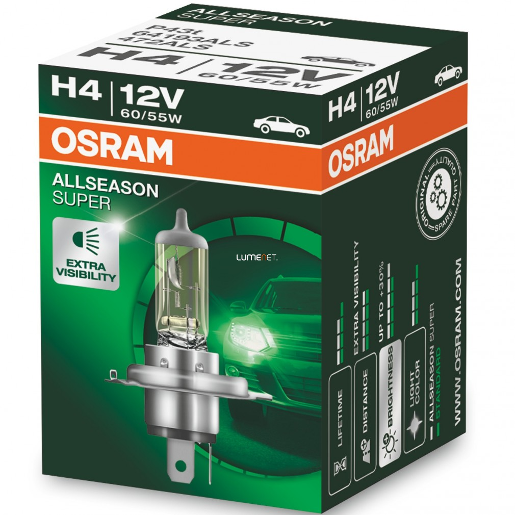 Галоген osram h4-12v 60/55w - p43t-+30% allseason super duobox (64193als_duobox)