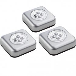 Müller Licht 400136 3xTouchlight LED 0,5W 12500K 8lm IP20 9xAAA 68x68x25mm