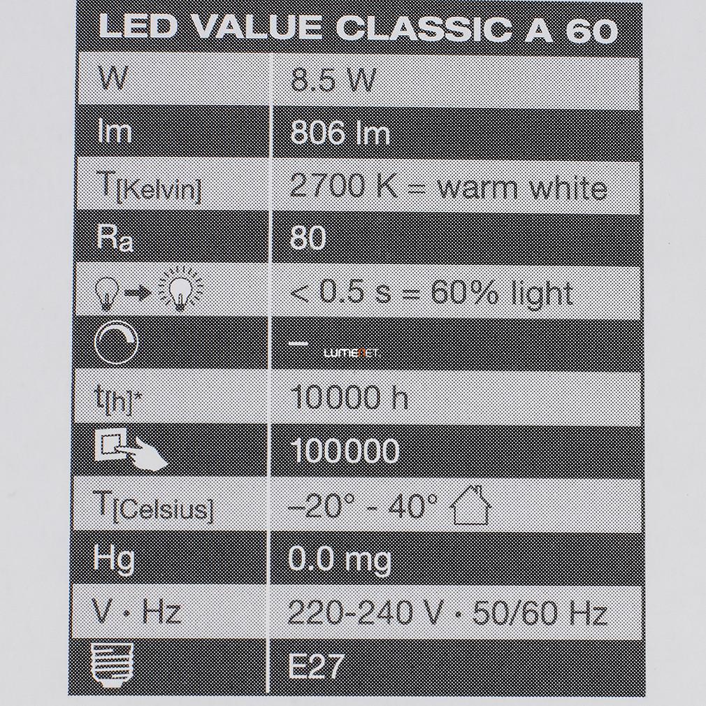 Osram CL A 60 9W/2700K E27 806lm LED - 60W izzó kiváltására