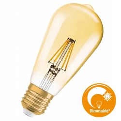 Osram Vintage 1906 Edison 55 Gold 7,5W 2500K E27 filament DIM LED 2018/19.