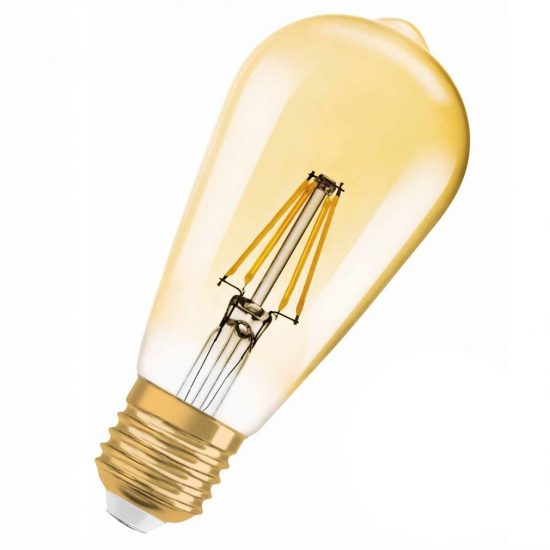 osram vintage 1906 edison 50 gold 6 5w 2400k e27 filament dim led lumenet. Black Bedroom Furniture Sets. Home Design Ideas