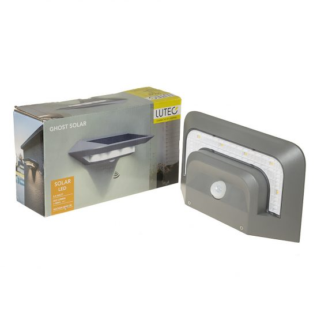 LUTEC P9014  SI GHOST SOLAR 2,4W LED IP44 fali IR ezüst napelemes lámpa