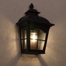 Redo 9651 YORK AP1/2 IP44 antik fekete festés barna fénnyel, átlátszó 1xE27 max. 100W lámpa