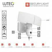 Lutec 6324-CAM-WH LIBRA kamera+audió+PIR fehér 38W IP44 kültéri lámpa