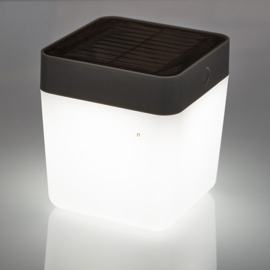 LUTEC P9080-3K SI TABLE CUBE 1W LED IP44 hordozható ezüst napelemes lámpa