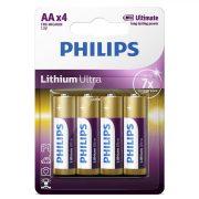 Philips Lithium Ultra FR6LB4A/10 7xélettartamú AA ceruza elem LR6 4db/csomag