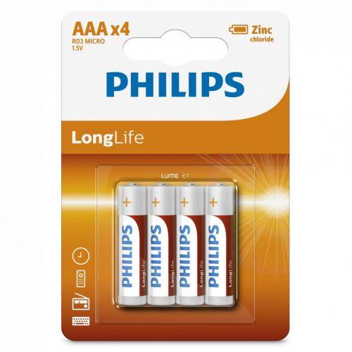 Philips LongLife R03-L4B/10 AAA mikro elem LR03 4db/csomag
