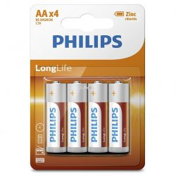 Philips LongLife R6-L4B/10 AA ceruza elem LR6 4db/csomag