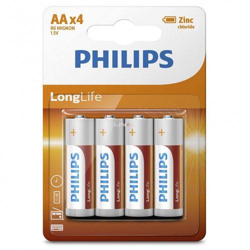 Philips LongLife R6-L4B/10 AA ceruza elem LR6 4db/csomag