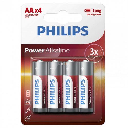 Philips PowerAlkaline LR6-P4B/10 AA ceruza elem LR6 4db/csomag