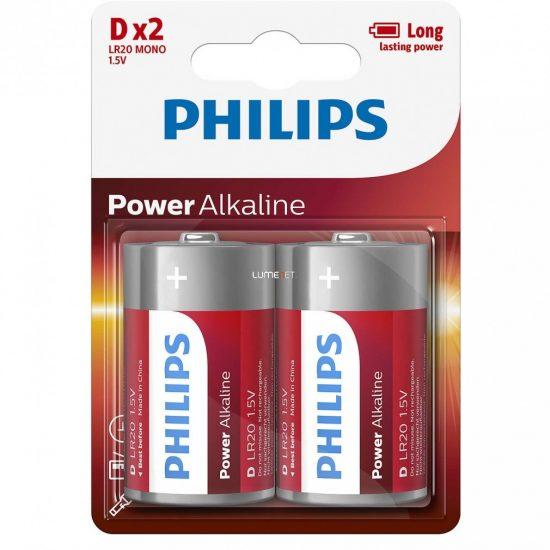 Philips PowerAlkaline LR20-P2B/10 D góliát elem 2db/csomag