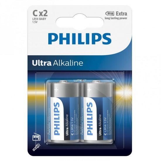 Philips UltraAlkaline LR14 -E2B/10 C baby elem LR14 2db/csomag