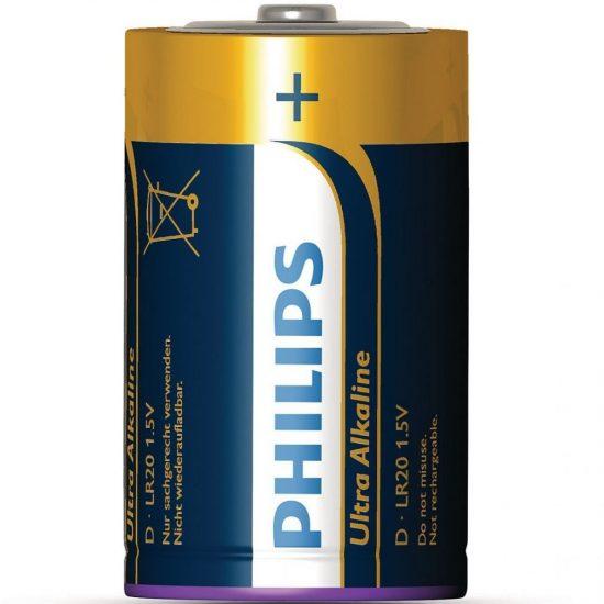 Philips UltraAlkaline LR20-E2B/10 góliát elem 2db/csomag