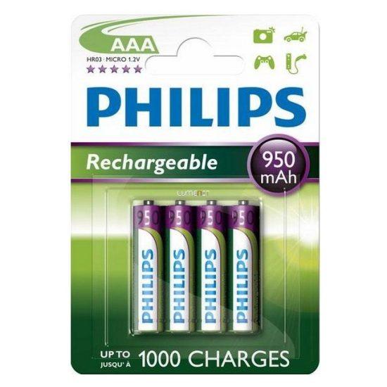 Philips MultiLife R03-B4A95/10 AAA mikro akku /950mAh 4db/csomag kifutó