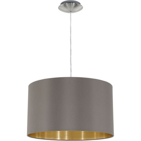 Eglo 31603 Maserlo cappuccino-arany textil függeszték 1xE27 foglalattal   ø38cm