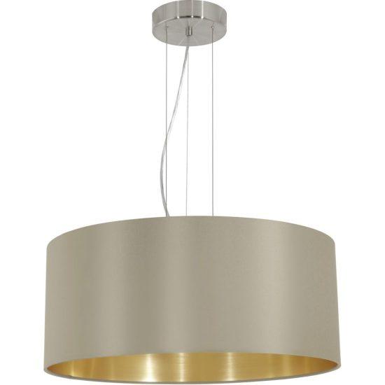 Eglo 31607 Maserlo tóp-arany textil függeszték 3xE27 foglalattal  ø53cm