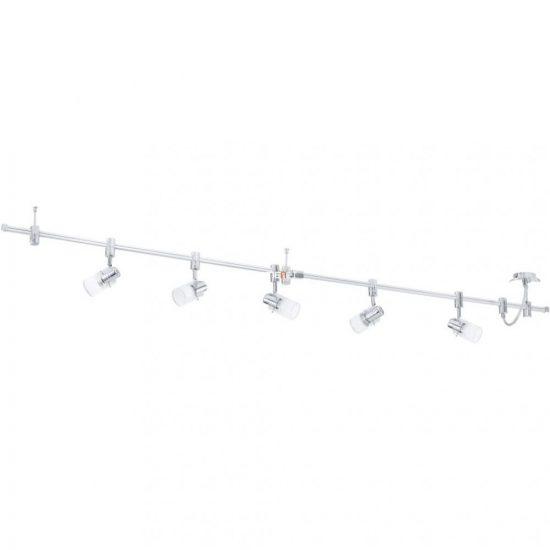 EGLO 93358 LED-es Mennyezeti lámpa sínrendszer GU10 5x5W fehér/króm 200cm üveg fej Vilanova