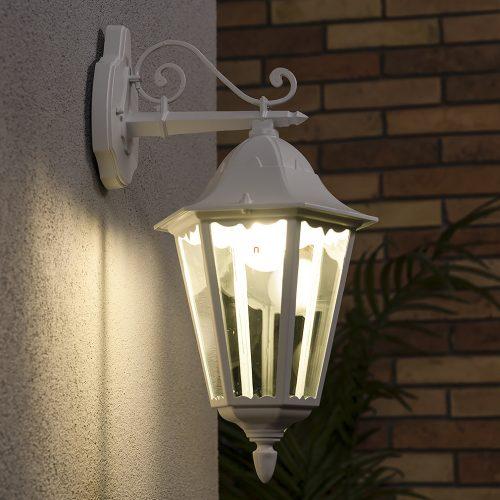 Eglo 93445 Navedo kültéri fali le 1xE27 max.60W 20*47,5*28,5cm alumínium öntvény fehér, átlátszó üveg IP44