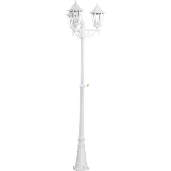 EGLO 93454 Kültéri álló 3xE27 max.60W m:220cm d:56cm alumínium öntvény fehér, átlátszó üveg IP44 Navedo