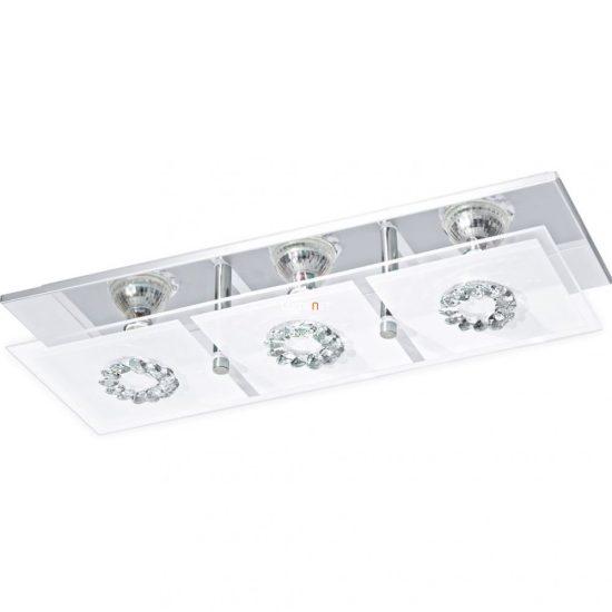 EGLO 93782 LED-es fali GU10 3x3W króm/szatin üveg/kristály 41,5x13,5cm Roncato