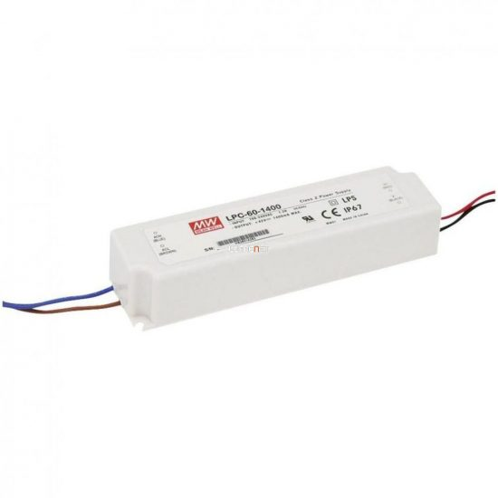 Mean Well LPC-60-1050 60W IP67 Vin: 90-264V AC, Vout: 9-48V DC/1050mA