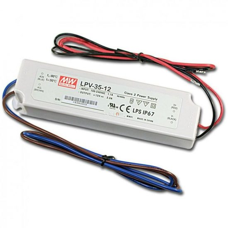 MEAN WELL LPV-35 35W 12V IP67 Vin: 90-264V AC, Vout: 12V DC