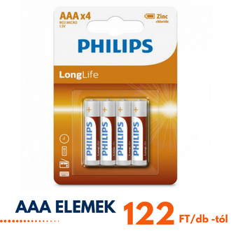 AAA Philips elem 122 Ft-tól!