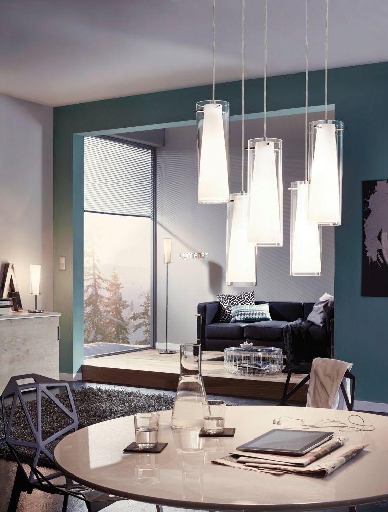 EGLO 93003 Függeszték E27 5x60W acél/króm üveg/átlátszó/fehér d:50cm Pinto