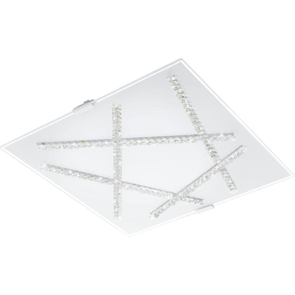 EGLO 93765 LED-es Mennyezeti lámpa 16W 36,5x36,5cm üveg fehér/kristály Sorrenta