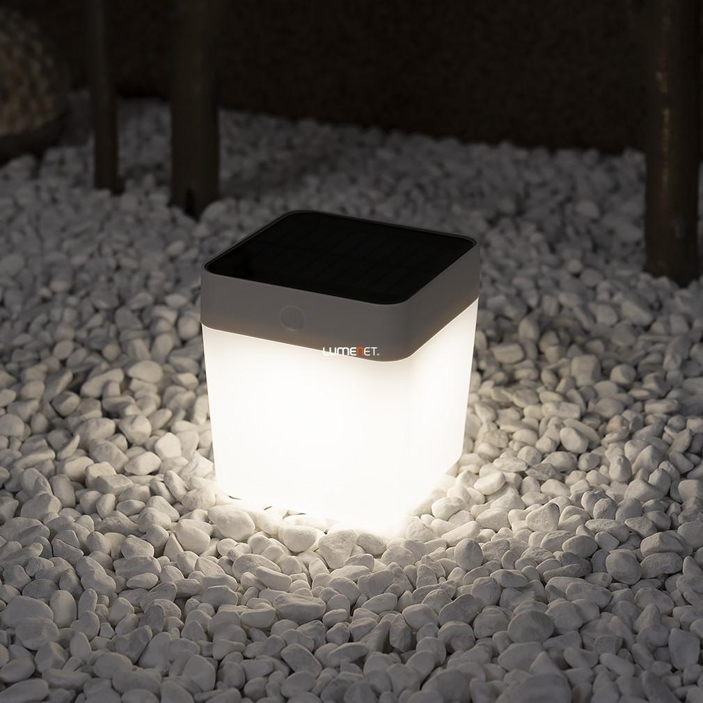 LUTEC P9080-3K WH TABLE CUBE 1W LED IP44 hordozhatófehér napelemes lámpa