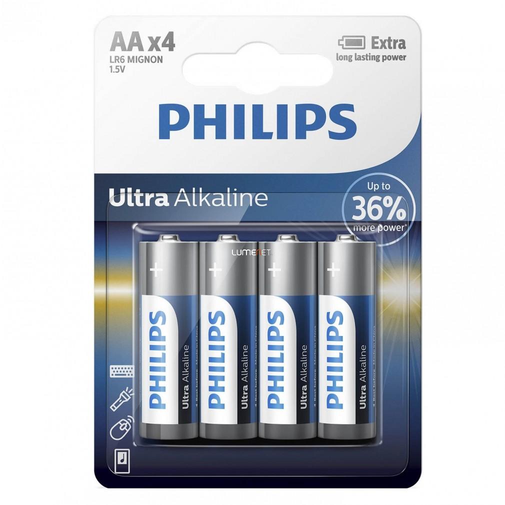 Philips UltraAlkaline LR6-E4B/10 AA ceruza elem LR6 4db/csomag