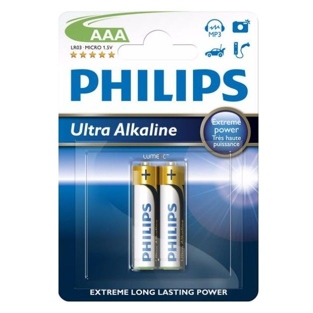 Philips UltraAlkaline LR03E2B/10 AAA mikro elem LR03 2db/csomag