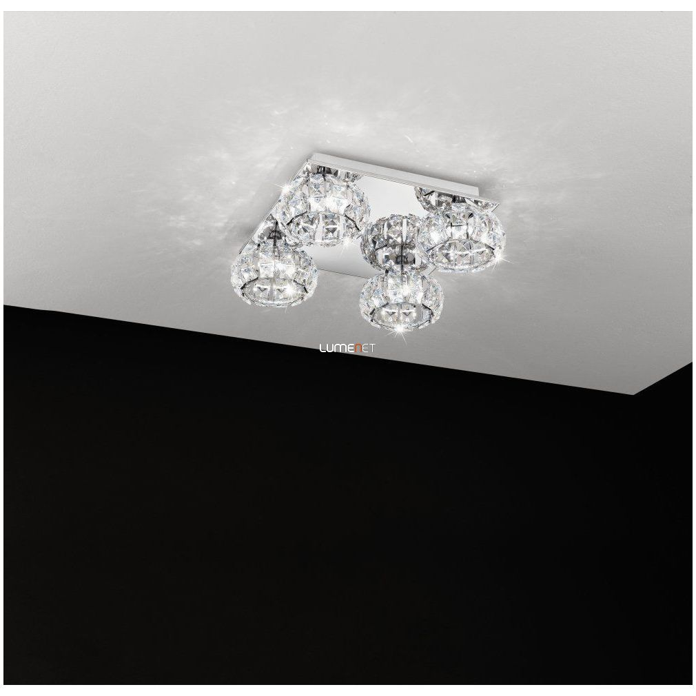 EGLO 39009 LED kristály mennyezeti 4x5W 40x40cm Corliano