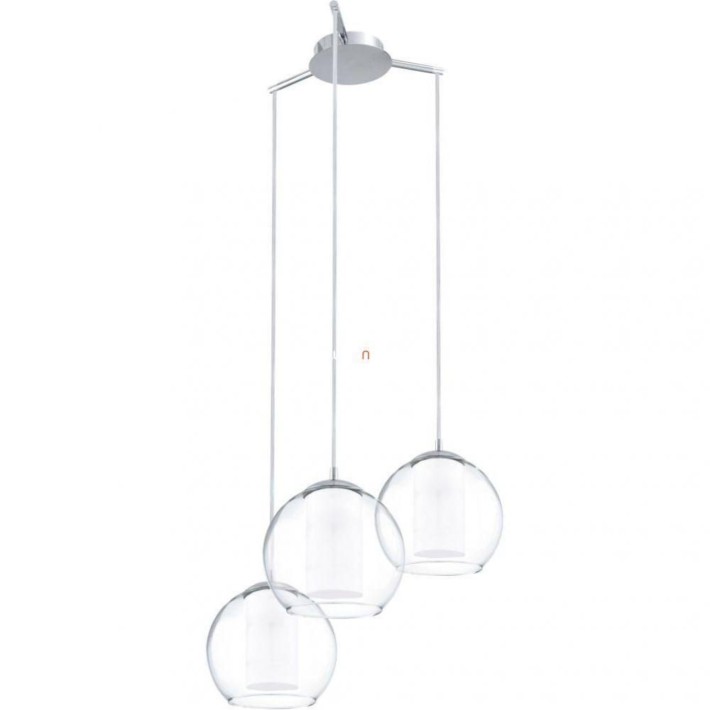EGLO 92762 Függeszték E27 3x60W acél/króm szatin/áttetsző üveg dupla burás d:50,5cm Bolsano