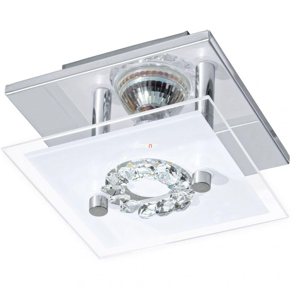 EGLO 93781 LED-es fali GU10 1x3W króm/szatin üveg/kristály 13,5x13,5cm Roncato
