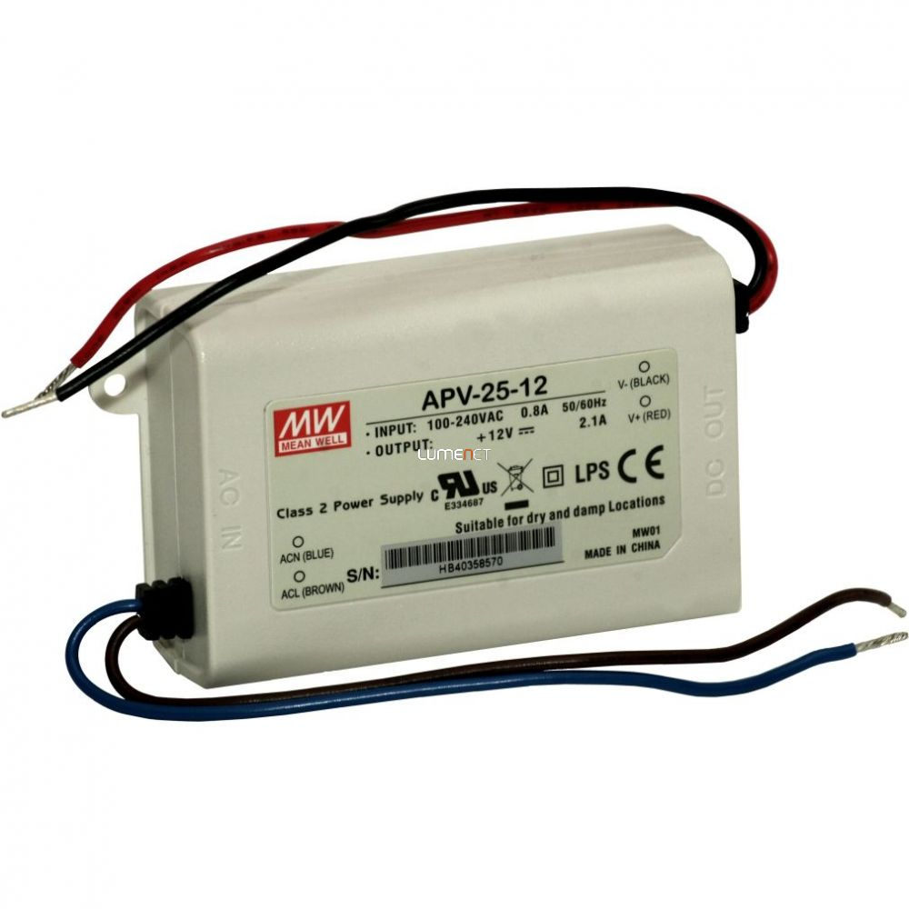 MEAN WELL APV-25-12 25W Vin: 90-264V AC/127-370V DC, Vout: 12V DC