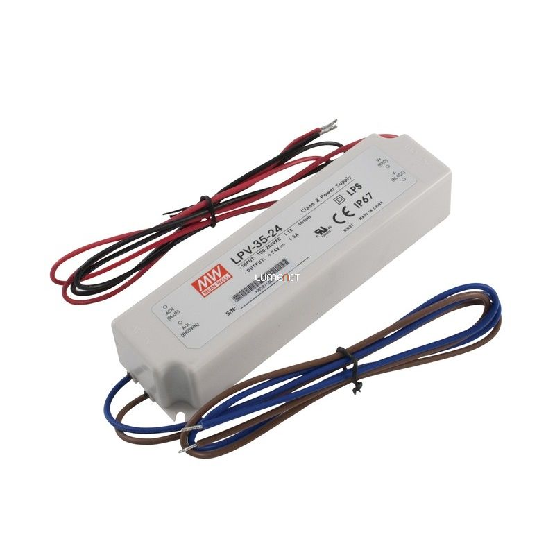 MEAN WELL LPV-35-24 35W IP67 Vin: 90-264V AC, Vout: 24V DC